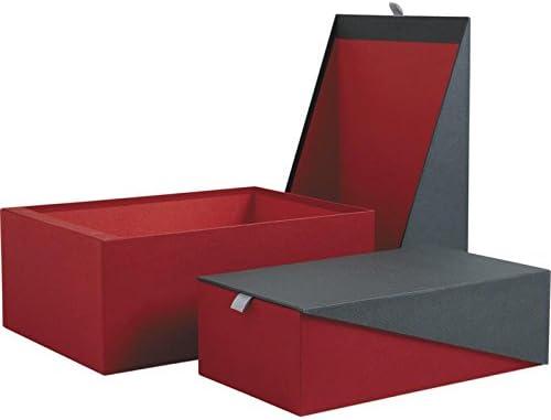 Caja de cartón de color rojo y gris cierre magnético: Amazon.es: Hogar
