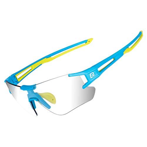 RockBros Cycling Sunglasses Photochromic Bike Glasses for Men Women Sports Goggles UV Protection (Blue Green)