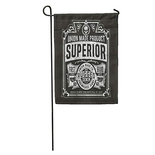 Semtomn Garden Flag Vintage Denim Retro in Black and White for Old School Home Yard House Decor Barnner Outdoor Stand 12x18 Inches Flag ()
