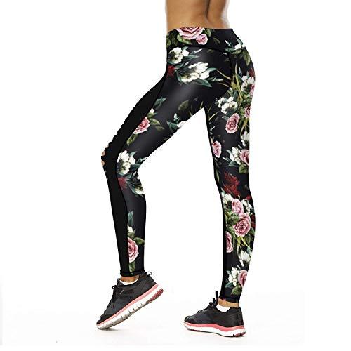 Bolawoo Sportivi Elastici Pantaloni Vita A Stampati Rose Leggings Yoga Donna Style Festa Stretch In Fiori Matita Flower Da wqwAvrB