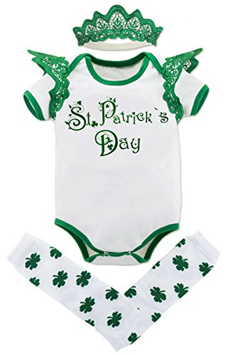 Mombebe 3pcs Outfit Set Baby Girls' St. Patrick's Day Bodysuit (0-3 Months, Leprechauns) -