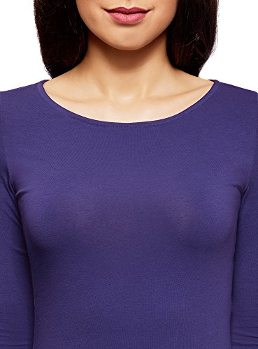 oodji Collection Mujer Camiseta de Manga Larga (Pack de 2) Azul (7500N)