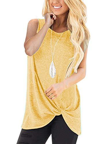 (Unidear Women's Casual T Shirts Twist Knot Tunics Tops Yellow#5)