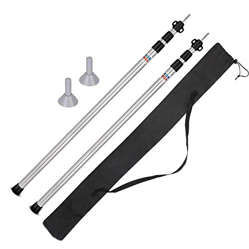 ABDQPC Telescoping Tarp Poles Set of 2 Adjustable Aluminum Rods for Tent Fly and Tarps,Extending Portable Collapsible for Camper Awning Tarpaulin Camping