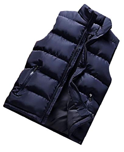 Blue Vest Collar Gocgt Sleeveless Mens Jacket Packable Puffer Stand qw7xtZ81