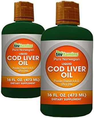 Pure Norwegian Cod Liver Oil Liquid by TNVitamins 32 fl oz (2 x 16)