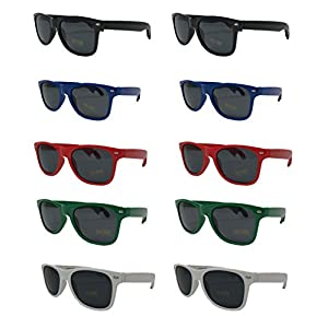 Bottle Opener Sunglasses-Party Pack-10 Assorted Brightly Colored Sunglasses UV 400 PROTECTED For Graduation-Mardi-Gras-Holidays-Birthdays-Parties-Fishing Trips-Tailgating One Size Fits Most-The Gag