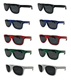Bottle Opener Sunglasses-Wayfarer Style Party Pack-10 Assorted Brightly Colored Red Green Blue White Black Sunglasses UV 400 PROTECTED For Men Women Bulk Wholesale Pack