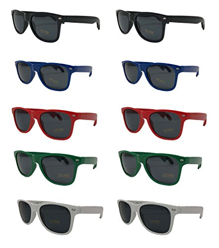 Bottle Opener Sunglasses-Party Pack-10 Assorted Brightly Colored Sunglasses UV 400 PROTECTED For Graduation-Mardi-Gras-Holidays-Birthdays-Parties-Fishing Trips-Tailgating One Size Fits Most-The - Wayfarers Sunglass For Straps