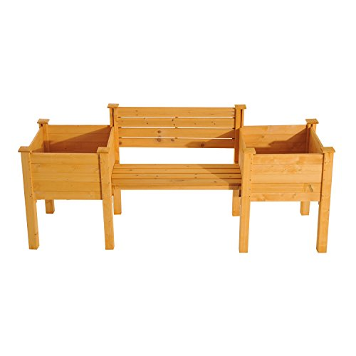 NEW Yellow Fir wood Wooden Garden Bench W/ Flower Bed Planter Patio Outdoor Furniture by Baskets, Pots & Window Boxes (Image #2)