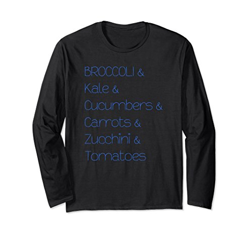 Unisex Broccoli Kale Cucumbers Carrots Tomatoes Long Sleeve T-Shirt 2XL Black