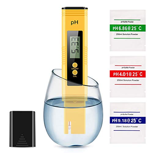 Digital PH Meter, PH Meter 0.01 PH High Accuracy Water Quality Tester with 0-14 PH Measurement Range for Household Drinking, Pool and Aquarium Water PH Tester Design with ATC (Yellow) (Best Digital Ph Meter)