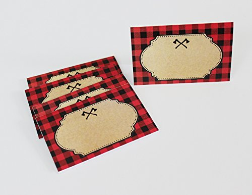 Set of 8 Lumberjack Place Cards, Food Tents, Food Labels, Plaid, Lumberjack Party tents. (Label Flannel)