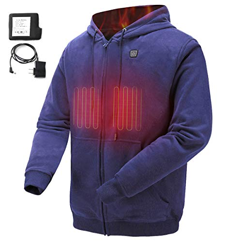 COLCHAM Heated Hoodie Soft Fleece with Battery and Charger Navy M