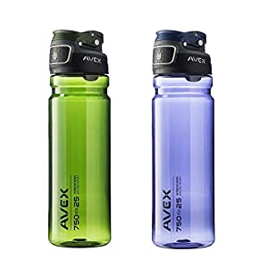 Avex FreeFlow Autoseal 25oz Plastic Water Bottle Combo Navy Blue & Olive Green