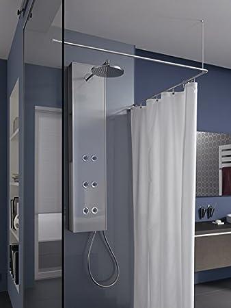 PHOS Barra para cortinas de ducha (Forma de L, 100 x 100 cm: Amazon.es: Hogar