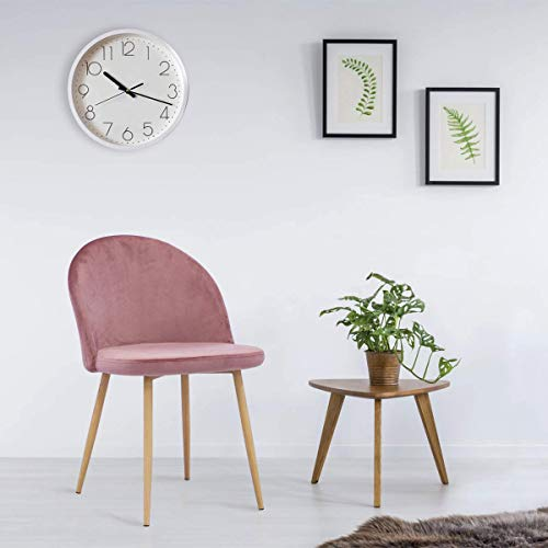 Mellcom Dining Chairs Mid Century Modern Accent Velvet Leisure Chairs Upholstered Side Chairs with Metal Legs for Home, Set of 2 / Pink