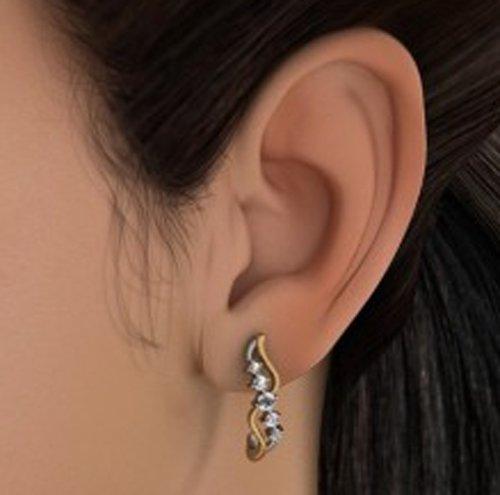 18K Or Blanc 0,23CT TW Round-cut-diamond (IJ | SI) Boucles d'oreilles créoles