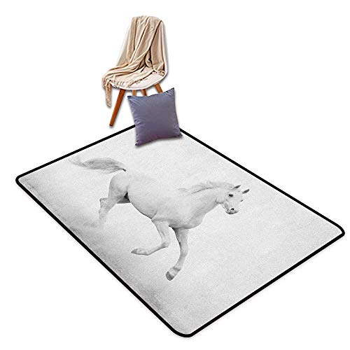 Door Rug Area Rug Black and White White Stallion Running Horse Galloping Motion Speed Equestrian Print Children's Rug W6'xL7'