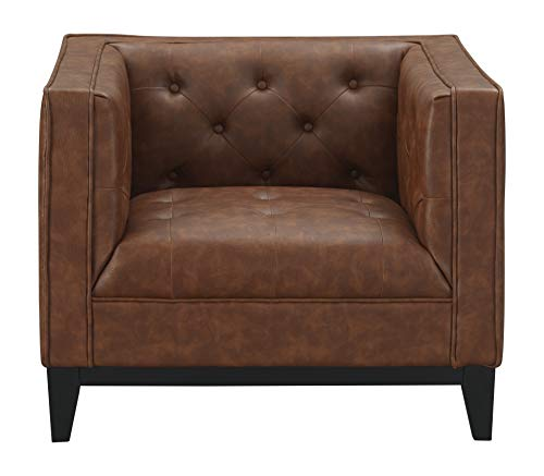 """Price comparison product image Manhattan Comfort 221HL7 Cadman Mid Century Modern Faux Leather Button Tufted Living Room Armchair,  33.86"""",  Camel"""