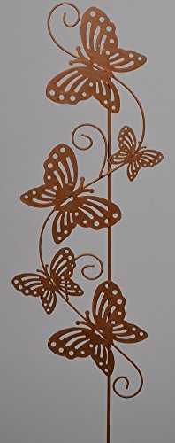 Lilie VARILANDO/® Dekorative Metall-Gartenstecker in zwei bezaubernden floralen Varianten Vintage Rost-Optik