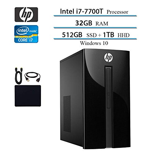 2019 HP Premium Flagship Pavilion 460 Desktop Computer, Intel Quad-Core i7-7700T up to 3.8GHz, 32GB DDR4 SDRAM, 512GB SSD + 1TB HDD, WINS 10 w/Accessories (Best Computers Of 2019)