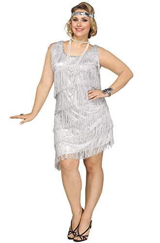 Fun World Women's Plus Size Shimmery Flapper Costume, Silver, XX-Large