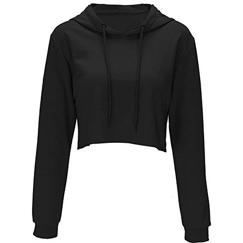 Hoodies for Women Workout Crop Top Hoodie Hooded Pullover Sweatshirt (Black, - Hoodie Pullover Sweatshirt Black