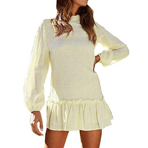 Beige Faldas de Vestidos Frescas Mangas Moda Que Flojos Beikoard de Las los cose Cuello Redondo largas de Vestidos señoras wwUZHqpWt6