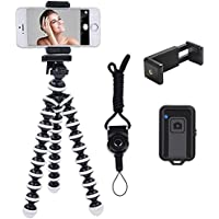 Phone Tripod, Ibeston Octopus Phone Tripod Portable and Adjustable Tripod Stand Holder with Universal Clip and Bluetooth…