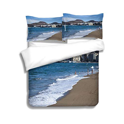 Home Duvet Cover Set,General View of Playa Las Canteras Las Palmas,Soft,Breathable,Hypoallergenic,Bedding Set for Kids,Boys and Teens
