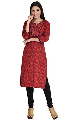 Red-Bird-Print-Running-Yoke-Kurti