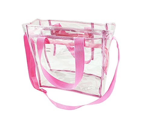 - Nova Sport Wear Bag with Handles / Adjustable Strap Transparent Gameday Tote, 12 x 12 x 6 Inch - Pink