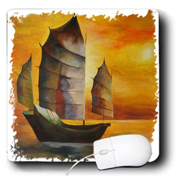 3Drose 8 X 8 X 0.25 Inches Mouse Pad Chinese Junk - Sail Boat, Acrylic Painting, Sails, Decorative, Seascape, Cubism, Sailors, Nautical (mp_63141_1)
