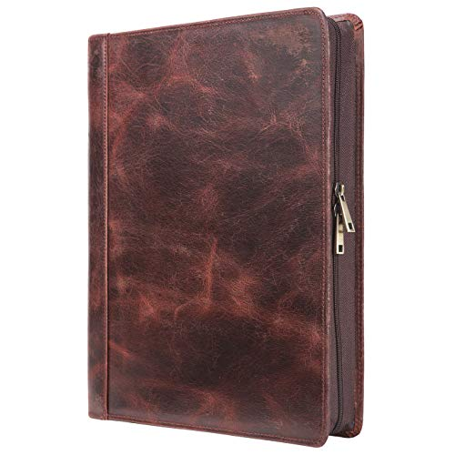 - Handmade Vintage Leather Padfolio Portfolio Case Zippered Business Organizer Tablet Folio Folder with Letter Size Notepad, Crazy Horse Leather, Gift for Women & Men (Custom)