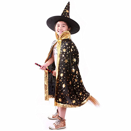 Colorful Witch Wizard Kids Cloak Cape Hat Sets Halloween party Customs(Black) (Child Wizard)