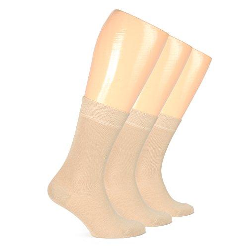 Hugh Ugoli Women's Dress Crew Socks Bamboo Business Casual Comfort Seam (Shoe size: 6-9, Beige) by Hu Socks