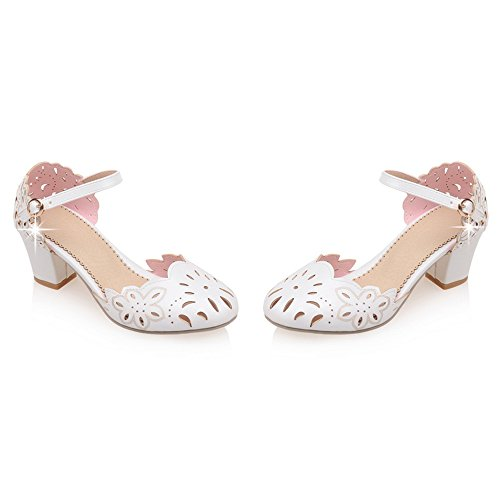 Pumps Buckle White Women Strap FANIMILA 1t57wq6