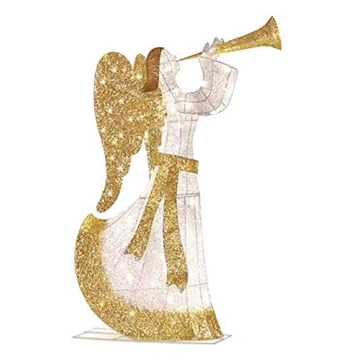 Outdoor Lighted Christmas Angel With Trumpet in US - 3