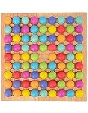 herommy Träpärlor lärande spel 80 st regnbåge boll eliminering spel färgning regnbåge pärla spel regnbåge pussel schack färg kognitiva färdigheter leksak