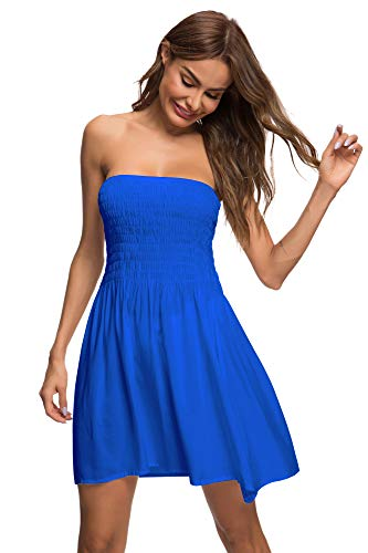 Honeuppy Tube Top Dresses for Women's Summer Sexy Strapless Swing Beach Mini Dress (L, Blue) ()