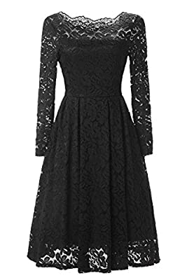 Annigo Womens Cocktail Dress Vintage Party Floral Lace Long Sleeve Prom Formal Dresses(FBA)