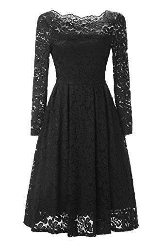Angerella Women's Fashion Off Shoulder Wedding Party Floral Lace Dress