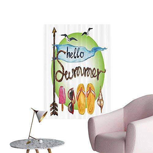 (Wall Decoration Wall Stickers Age Arrow Flag Shell Rope Flip Flops Sunglasses Sunshine Ice Cream Popsicle Print Artwork,28