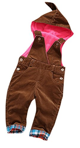 - Toddler Cute Fleece Lined Corduroy Solid Hooded Warm One-Piece Jumpsuit Overall for Girls or Boys 85 Brown