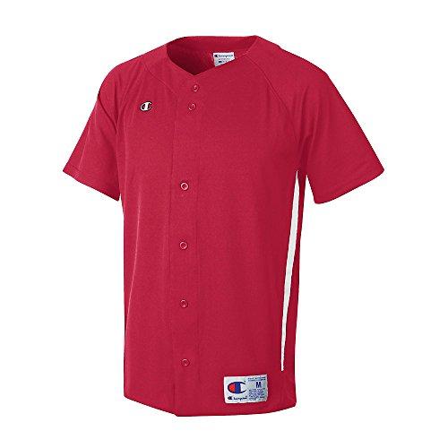 Mästare Mens Och Ungdomar Utsikter Baseball Dubbel Dry® Kortärmad Fullt Knapp Jersey # Bs20 Scarlet / Vit