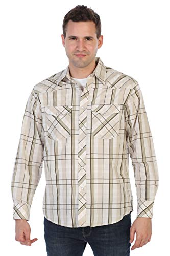 (Gioberti Men's Western Plaid Shirt with Pearl Snap-on, Ivory/Khaki/Olive, Size Large)