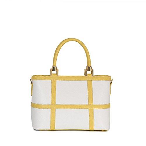 Arcadia Lete bolso de cuero italiano agarrar con el patrón de verificación (Blanco rosa) blanco amarillo