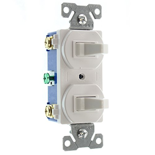 Hubbell RC103WZ Combo Double Toggle Switch, (1) 1-Pole, (1) 3-Way, 15A, 120/277-Volt, White - Hubbell Light Switch