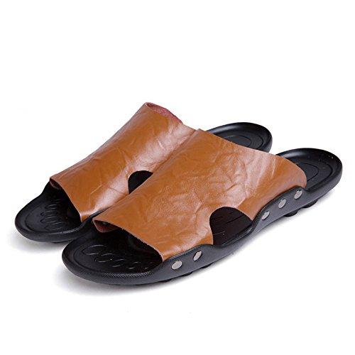 Brown Cuero de a Suaves Mano Planas Genuino Sandalias de Zapatos Trabajo Hombres Playa Pegamento Sandalias los de Antideslizantes 2018 Zapatillas de Hecho sin nAwxqXBCI
